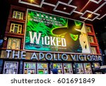 Small photo of London, England, February 17, 2015: The Apollo Victoria Theatre displaying signage for the show Wicked. The Apollo Victoria Theatre is a West End theatre in the Westminster district of London.