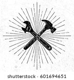 vintage wrench and hammer logo... | Shutterstock .eps vector #601694651