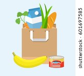 paper bag with groceries. | Shutterstock .eps vector #601697585
