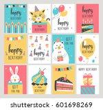 happy birthday card set. vector ... | Shutterstock .eps vector #601698269
