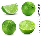 lime slice collection isolated