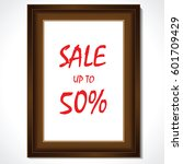 wooden frame with sale promo... | Shutterstock .eps vector #601709429