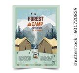 summer camp poster. tent ... | Shutterstock .eps vector #601720829