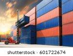 forklift handling container in...   Shutterstock . vector #601722674