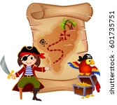 pirate  parrot and treasure map | Shutterstock .eps vector #601735751