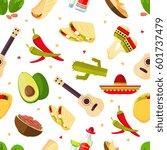 aztec theme  cartoon mexican... | Shutterstock .eps vector #601737479