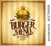 burger menu  best burgers in... | Shutterstock .eps vector #601739009