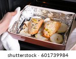 baking dish with delicious... | Shutterstock . vector #601739984