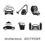 car wash icon set | Shutterstock .eps vector #601745369