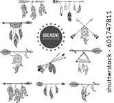 tribal arrow set in ethnical... | Shutterstock .eps vector #601747811