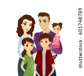 happy family portrait isolated... | Shutterstock .eps vector #601748789