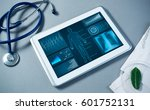 white tablet pc and doctor...   Shutterstock . vector #601752131
