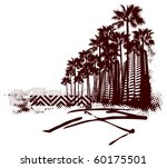 miami surf scene with grunge... | Shutterstock .eps vector #60175501