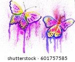 cartoon colorful butterflies... | Shutterstock . vector #601757585