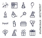 birthday icons set. set of 16... | Shutterstock .eps vector #601760507