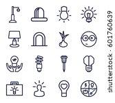bulb icons set. set of 16 bulb... | Shutterstock .eps vector #601760639