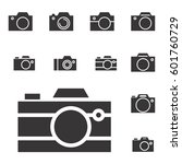 set of photo camera icon or... | Shutterstock .eps vector #601760729