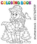 coloring book scout girl theme... | Shutterstock .eps vector #601760939