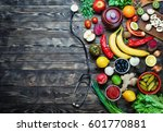 vegetables  fruits and... | Shutterstock . vector #601770881