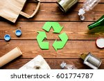 waste recycling eco symbol with ... | Shutterstock . vector #601774787