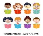 boys and girls reading books.... | Shutterstock .eps vector #601778495