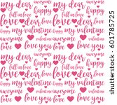 seamless pattern with pink love ... | Shutterstock .eps vector #601785725