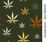 seamless pattern with cannabis... | Shutterstock .eps vector #601786445
