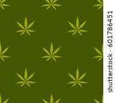 seamless pattern with cannabis... | Shutterstock .eps vector #601786451