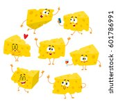 set of cute and funny cheese... | Shutterstock .eps vector #601786991