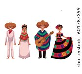 set of mexican people  men and... | Shutterstock .eps vector #601787399