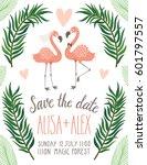 vector wedding invitation with... | Shutterstock .eps vector #601797557
