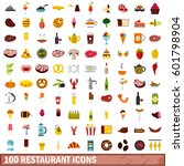 100 bbq food restaurant icons... | Shutterstock .eps vector #601798904