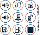 mp3 icons set. set of 9 mp3... | Shutterstock .eps vector #601802801