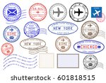 collection of colored postal... | Shutterstock .eps vector #601818515