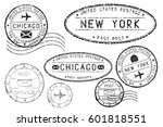 black mail stamps of new york... | Shutterstock .eps vector #601818551
