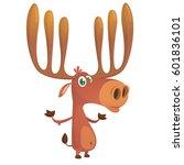 cool cartoon moose. vector... | Shutterstock .eps vector #601836101