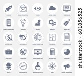 set of modern flat design icons ... | Shutterstock .eps vector #601856525
