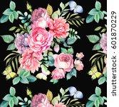 pattern.watercolor roses...   Shutterstock . vector #601870229