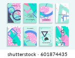 universal abstract posters set. ... | Shutterstock .eps vector #601874435