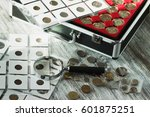different collector's coins in... | Shutterstock . vector #601875251