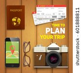 travel objects on wooden... | Shutterstock .eps vector #601888811