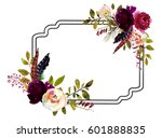 watercolor boho burgundy red...   Shutterstock . vector #601888835