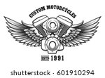 motorcycle engine and wings in... | Shutterstock .eps vector #601910294