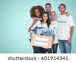 Small photo of Digital composite of Volunteers Team smiling at camera against a light blue background