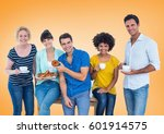 Small photo of Digital composite of Happy group of people Eating donus against orange background