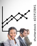 Small photo of Digital composite of Business Team using headsets against graph against neutral background