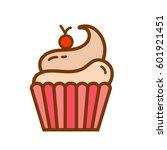 cute cupcake flat icon. vector... | Shutterstock .eps vector #601921451
