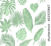 tropical leaves watercolor...   Shutterstock . vector #601925867
