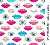 stylish 80s seamless pattern...   Shutterstock .eps vector #601931381