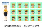 big set of female taxi driver... | Shutterstock .eps vector #601943195